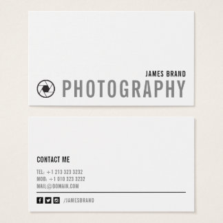 Bold Black and White Photographer Business Card