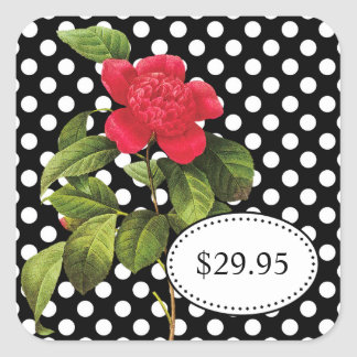 Bold Black and White Polka Dots Camellia Price Tag