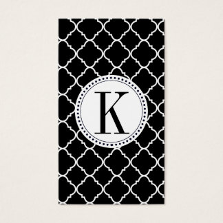 bold black and white quatrefoil business card