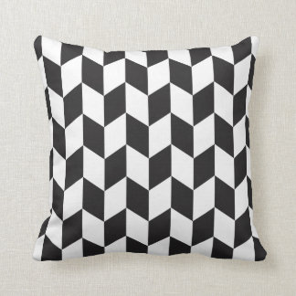 Bold Black and White Skew Square Pattern Pillow