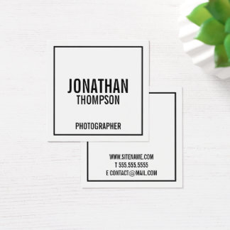 Bold Black and White Square Business Card
