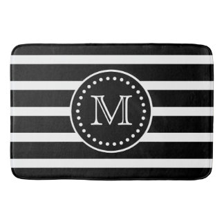 Bold Black and White Stripe and Polka Dot Monogram Bath Mat