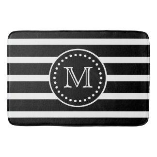 Bold Black and White Stripe and Polka Dot Monogram Bath Mats