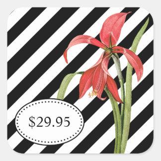 Bold Black and White Stripes Amaryllis Price Tags Square Sticker