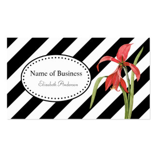 Bold Black and White Stripes Red Amaryllis Flower Pack Of Standard Business Cards