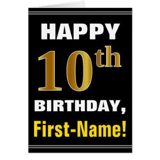 Bold, Black, Faux Gold 10th Birthday w/ Name Card