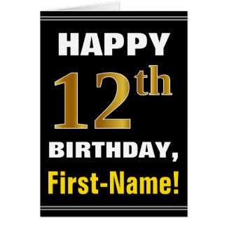 Bold, Black, Faux Gold 12th Birthday w/ Name Card