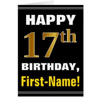Bold, Black, Faux Gold 17th Birthday w/ Name Card