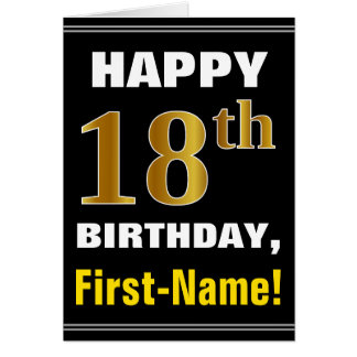 Bold, Black, Faux Gold 18th Birthday w/ Name Card