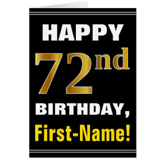 Bold, Black, Faux Gold 72nd Birthday w/ Name Card