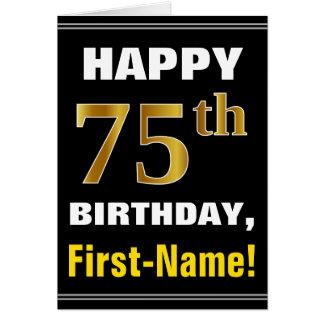 Bold, Black, Faux Gold 75th Birthday w/ Name Card