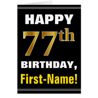 Bold, Black, Faux Gold 77th Birthday w/ Name Card