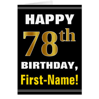 Bold, Black, Faux Gold 78th Birthday w/ Name Card