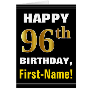 Bold, Black, Faux Gold 96th Birthday w/ Name Card