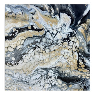 Bold Black Gold & White Abstract Wall Art