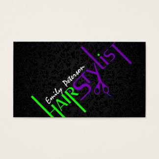 Bold Black Green And Purple Hair Stylist Text 2 Business Card