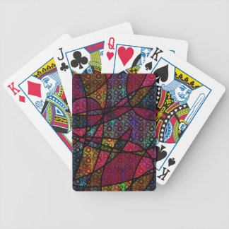 Bold Black Lines & Multicolored, Abstract Textures Bicycle Playing Cards