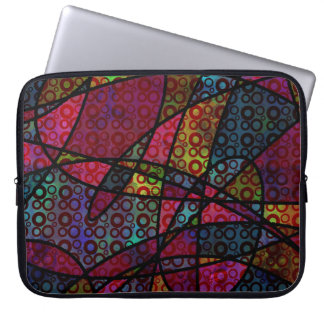 Bold Black Lines & Multicolored, Abstract Textures Laptop Sleeve