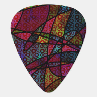 Bold Black Lines & Multicolored, Abstract Textures Plectrum