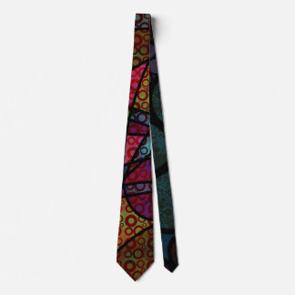 Bold Black Lines & Multicolored, Abstract Textures Tie