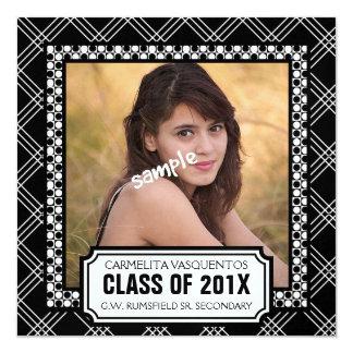 Bold Black Modern Photo Graduation Party 13 Cm X 13 Cm Square Invitation Card
