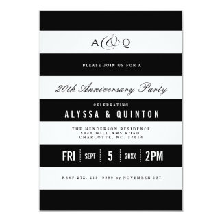 Bold Black Stripes Anniversary Party Invitation
