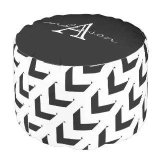 Bold Black & White Chevron, personalized Pouf