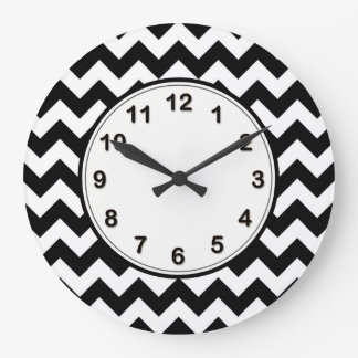 Bold Black & White Chevron Zig Zag Pattern Large Clock
