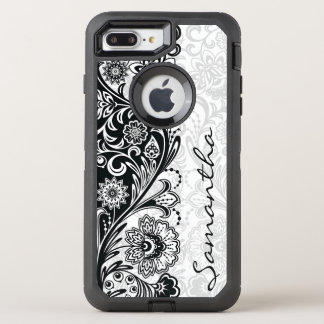Bold Black White Floral Design Otter Box OtterBox Defender iPhone 8 Plus/7 Plus Case