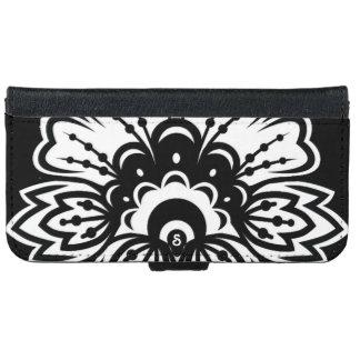 Bold Black White Flower Design iPhone Wallet