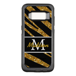 BOLD BLACK ZEBRA STRIPES NAME GOLD GLITTER OtterBox COMMUTER SAMSUNG GALAXY S8 CASE