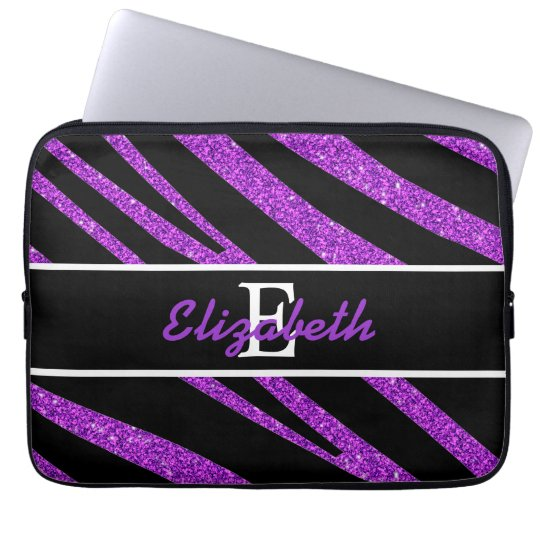 BOLD BLACK ZEBRA STRIPES NAME PURPLE GLITTER LAPTOP SLEEVE