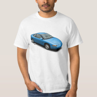 Bold Blue 1991 Saturn SC2 on White T-Shirt