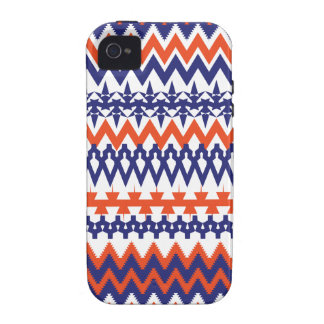 Bold Blue and Orange Tribal Chevron Pattern iPhone 4/4S Cover