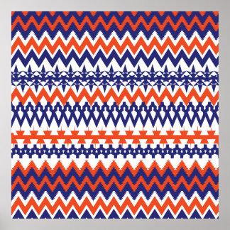 Bold Blue and Orange Tribal Chevron Pattern Poster