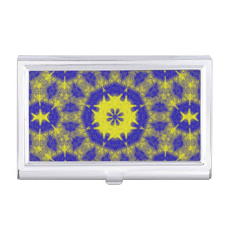 Bold blue and yellow kaleidoscope business card holder