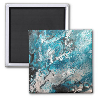 Bold Blue & Black Abstract Magnet