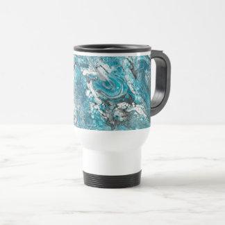 Bold Blue & Black Abstract Travel Mug