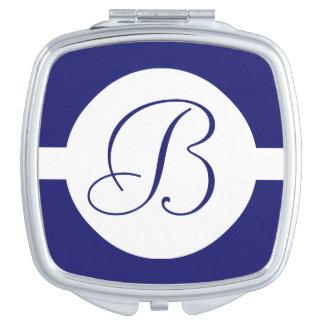 Bold Blue Circle Monogram Compact Mirrors
