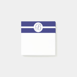 Bold Blue Circle Monogram Post-it Notes