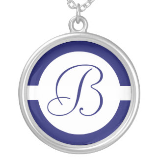 Bold Blue Circle Monogram Silver Plated Necklace