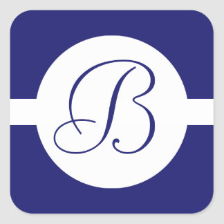 Bold Blue Circle Monogram Square Sticker