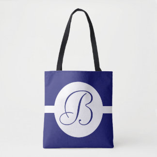 Bold Blue Circle Monogram Tote Bag