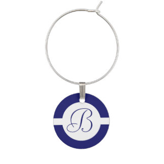 Bold Blue Circle Monogram Wine Charm