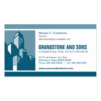 Bold Blue Commercial Real Estate Business Card Template