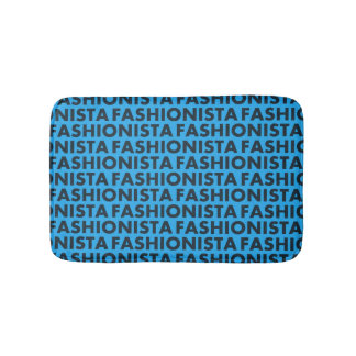 Bold Blue Fashionista Text Cutout Bath Mat