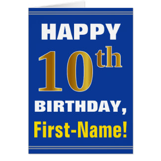 Bold, Blue, Faux Gold 10th Birthday w/ Name Card