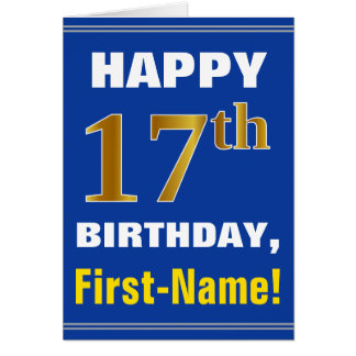 Bold, Blue, Faux Gold 17th Birthday w/ Name Card