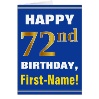 Bold, Blue, Faux Gold 72nd Birthday w/ Name Card