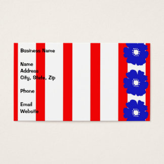 Bold Blue Flowers on Red and White Stripes Business Card